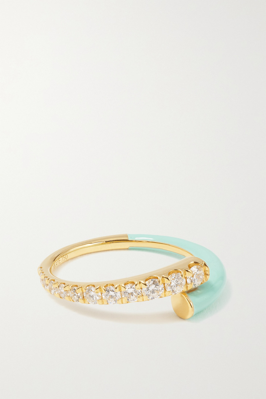 Melissa Kaye Lola 18-karat gold, diamond and enamel ring