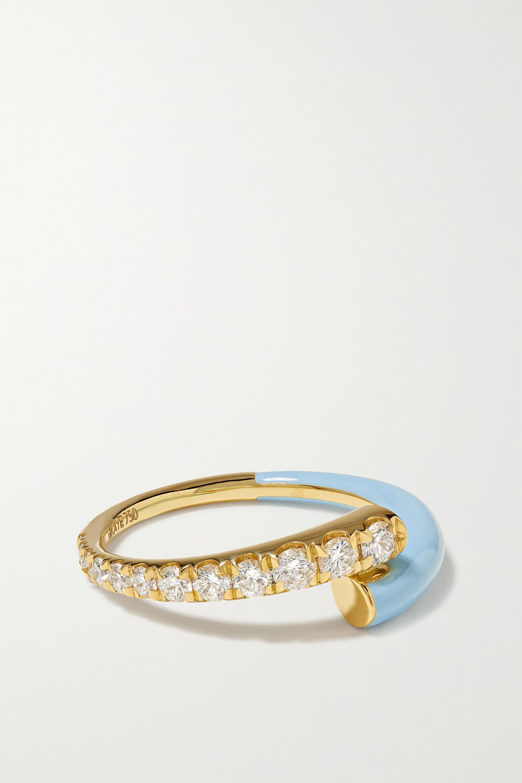 Melissa Kaye - Lola 18-karat gold, diamond and enamel ring