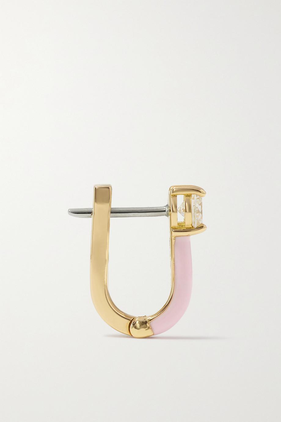 Melissa Kaye Aria U Huggie 18-karat rose gold, diamond and enamel earrings