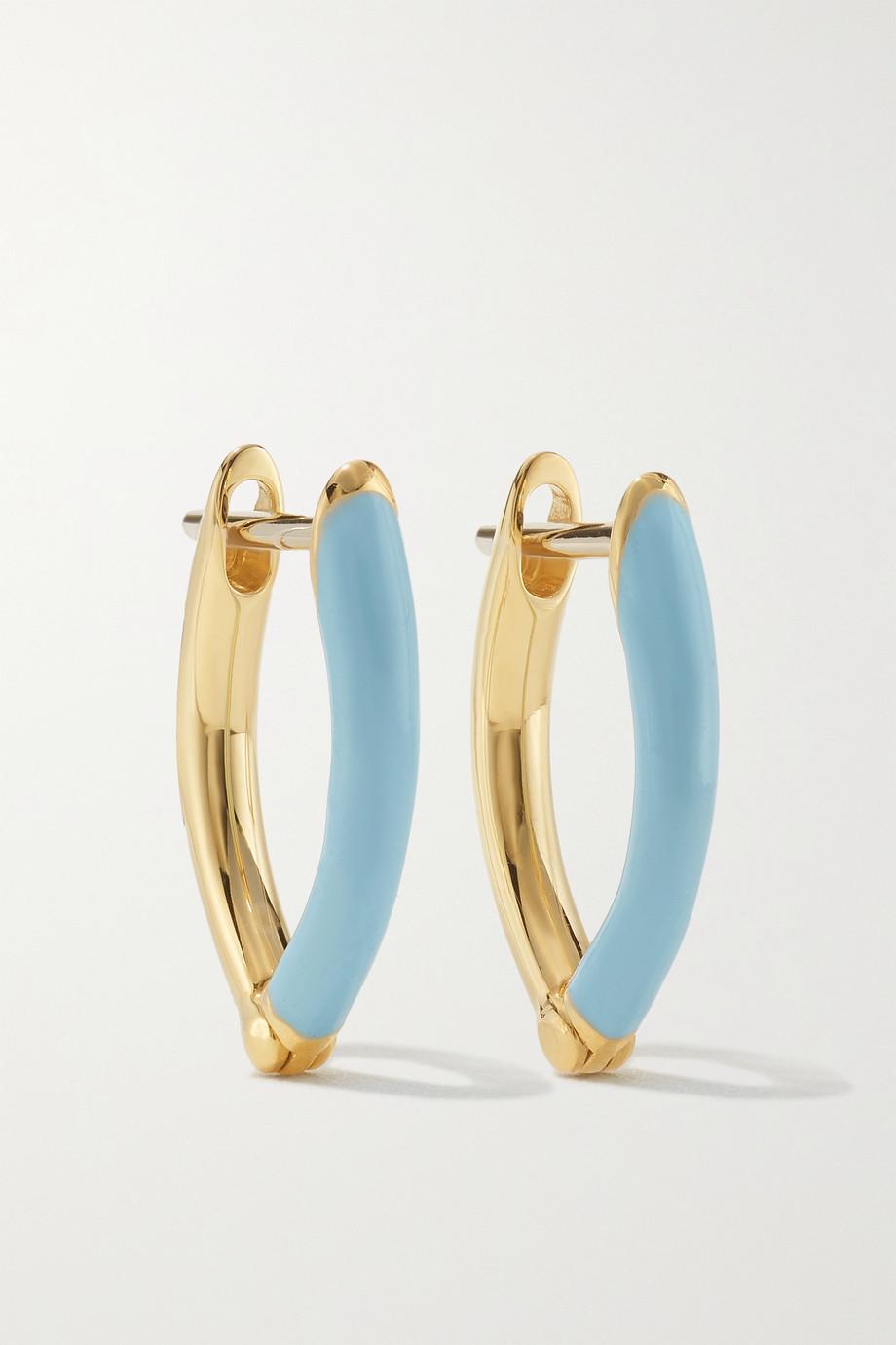 Melissa Kaye Cristina small 18-karat gold and enamel earrings