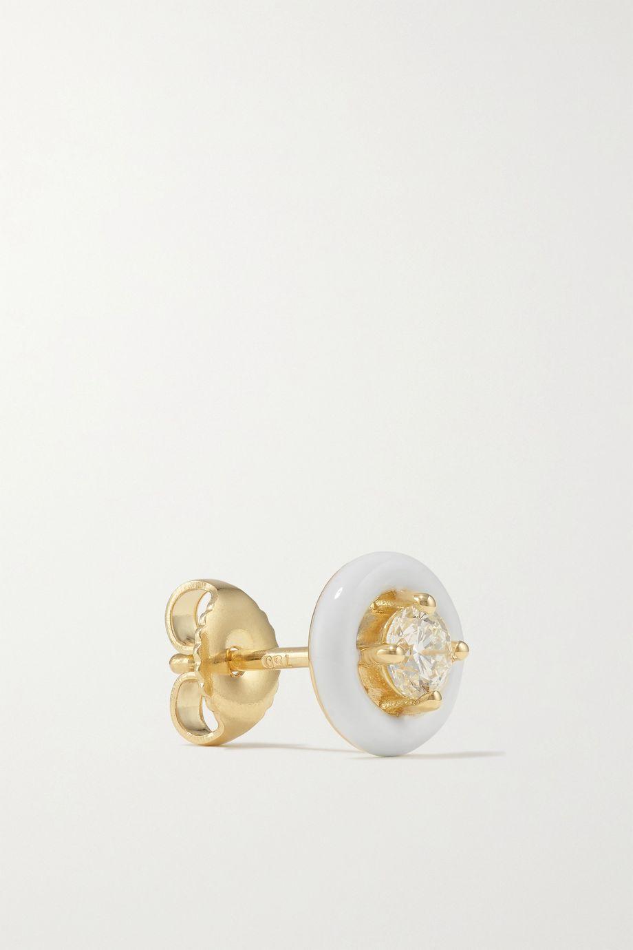 Melissa Kaye Sylvie 18-karat gold, enamel and diamond earrings
