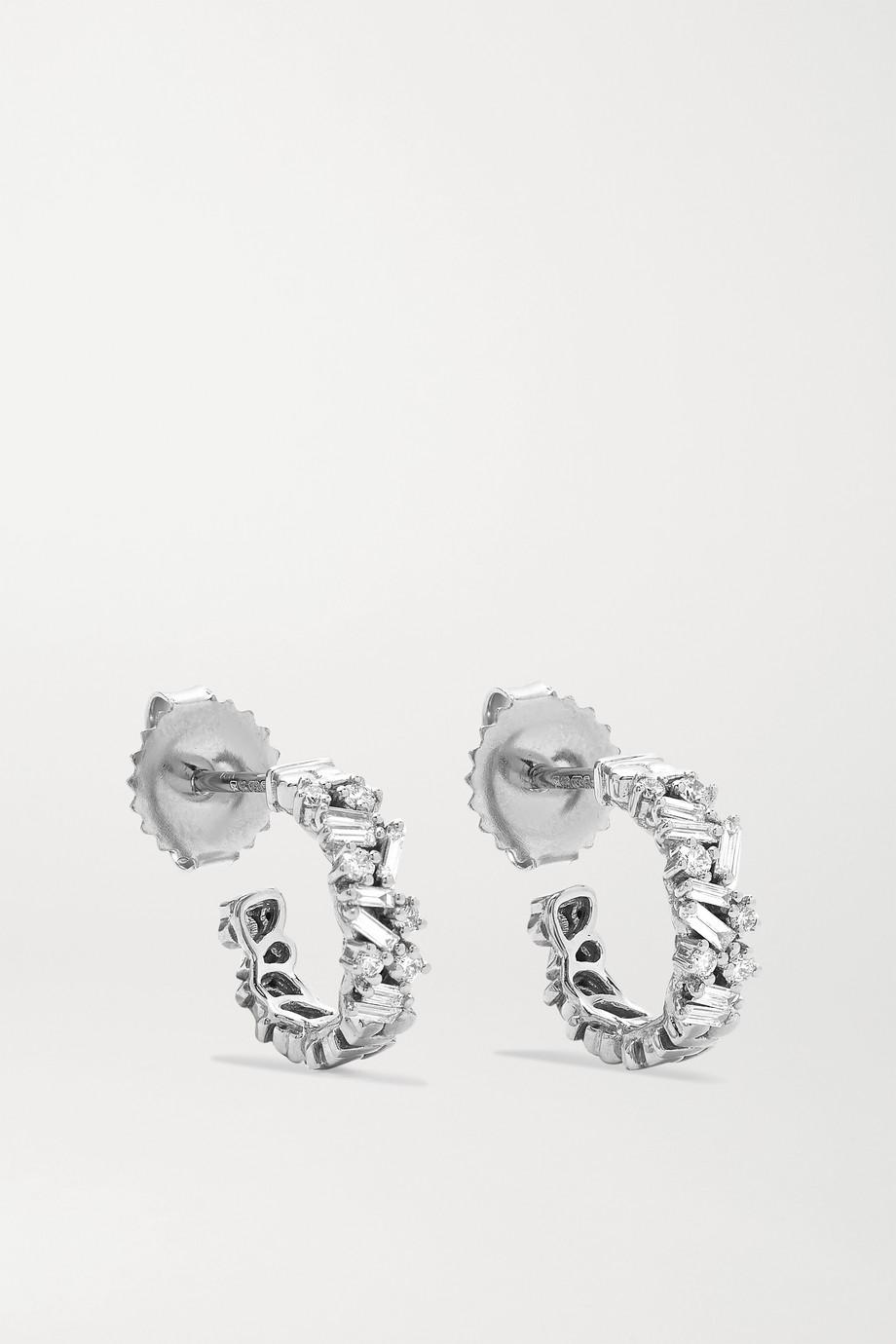 Suzanne Kalan Boucles d'oreilles en or blanc 18 carats (750/1000) et diamants Shimmer