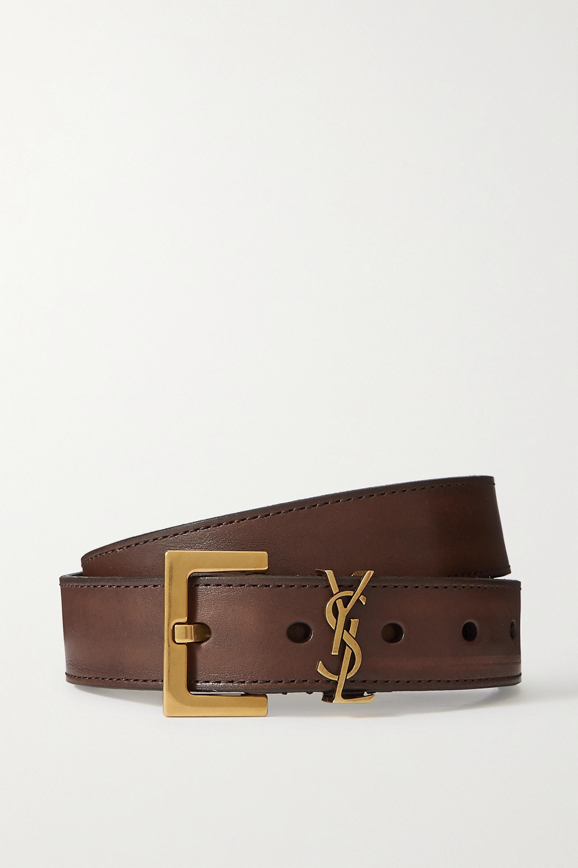SAINT LAURENT - Monogramme leather belt