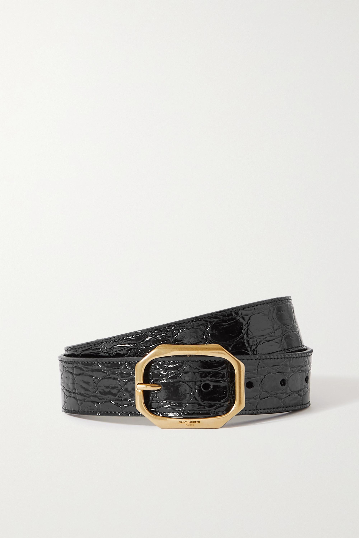 SAINT LAURENT - Croc-effect patent-leather belt