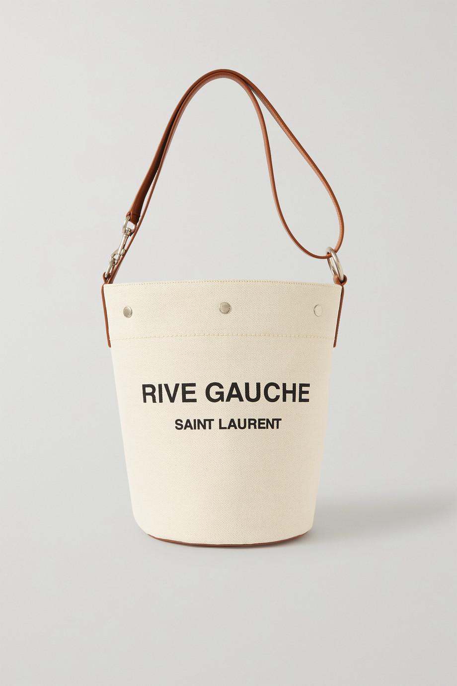 SAINT LAURENT Sac seau en toile de coton imprimée à finitions en cuir Rive Gauche