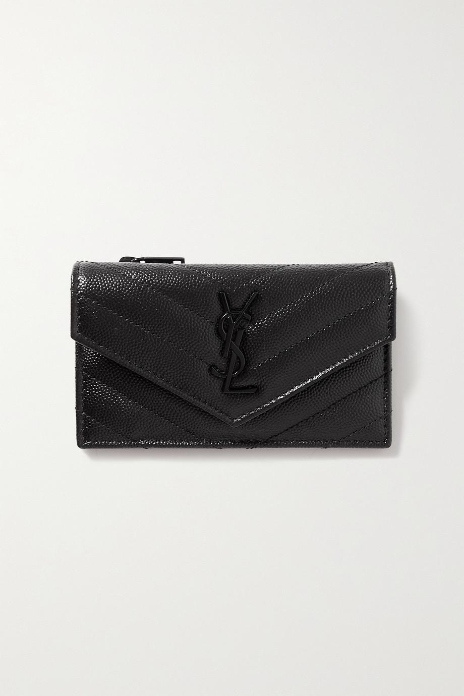 SAINT LAURENT Portefeuille en cuir texturé Monogramme