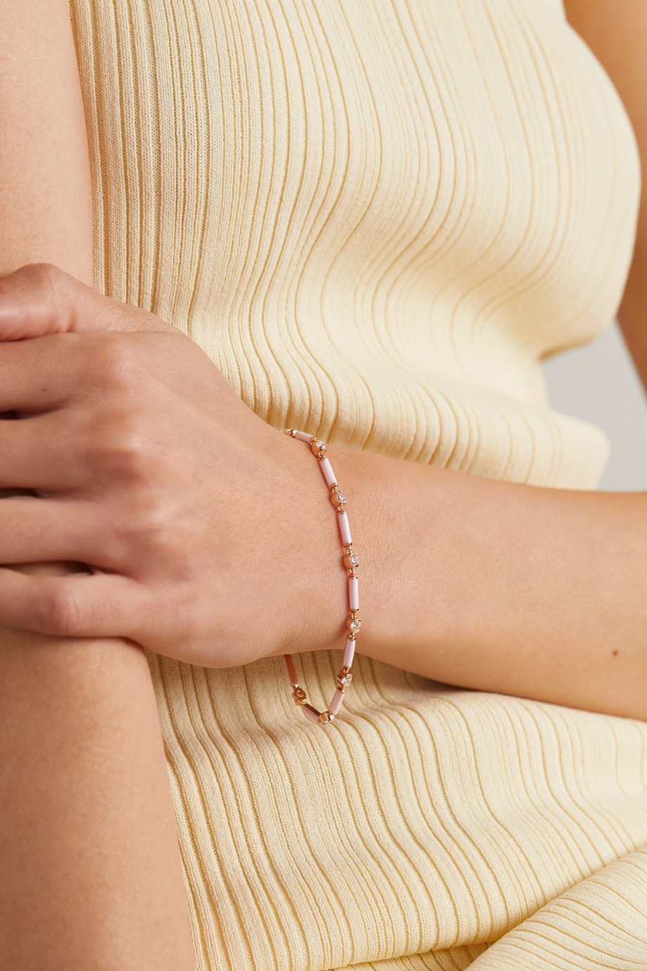 Melissa Kaye Zea 18-karat rose gold, enamel and diamond bracelet
