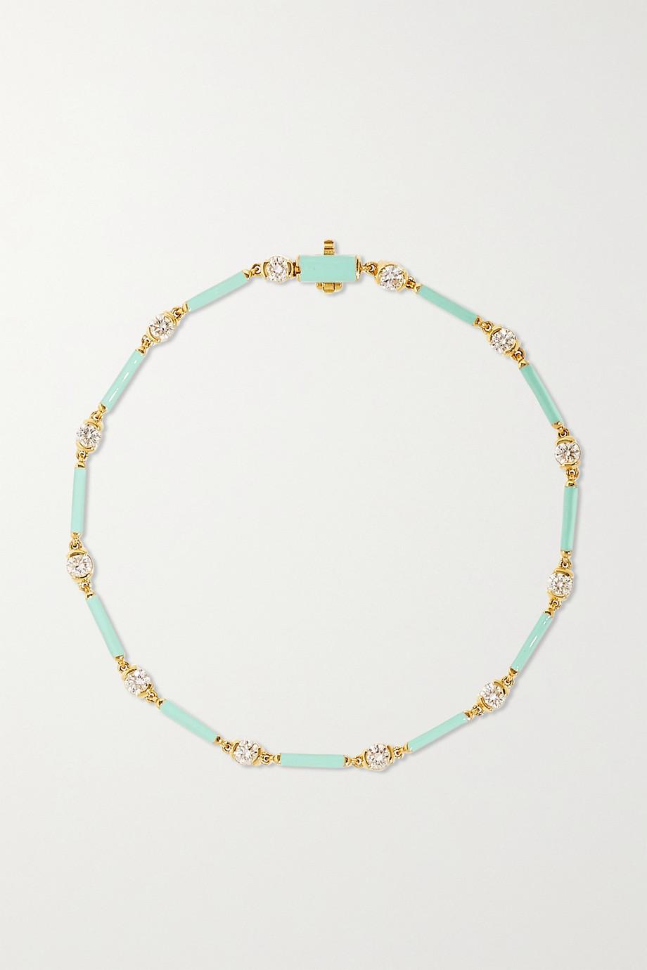 Melissa Kaye Zea 18-karat gold, enamel and diamond bracelet