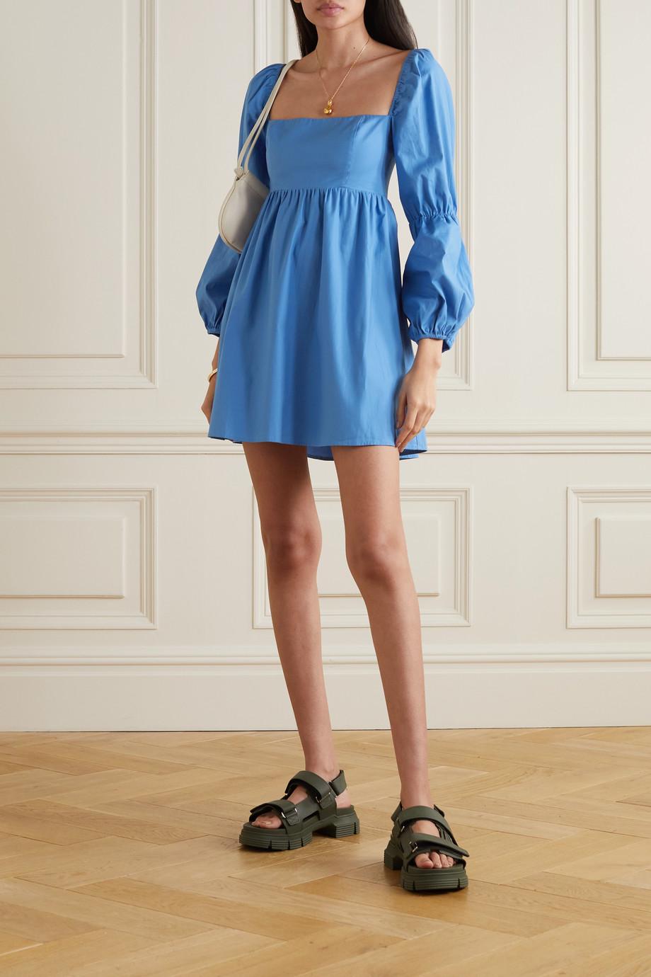 Reformation + NET SUSTAIN Michaela gathered organic cotton-blend poplin mini dress