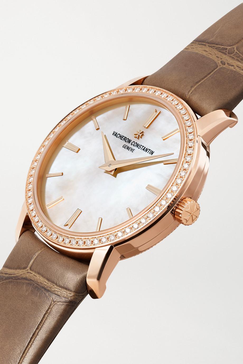 Vacheron Constantin Traditionnelle 30 mm Uhr aus 18 Karat Roségold mit Perlmutt, Diamanten und Alligatorlederarmband