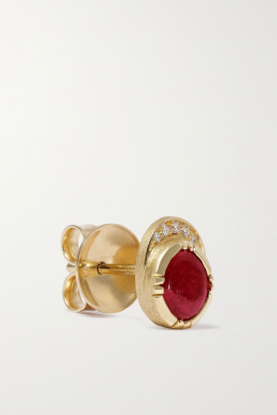 Brooke Gregson Orbit Halo 18-karat gold, ruby and diamond earrings