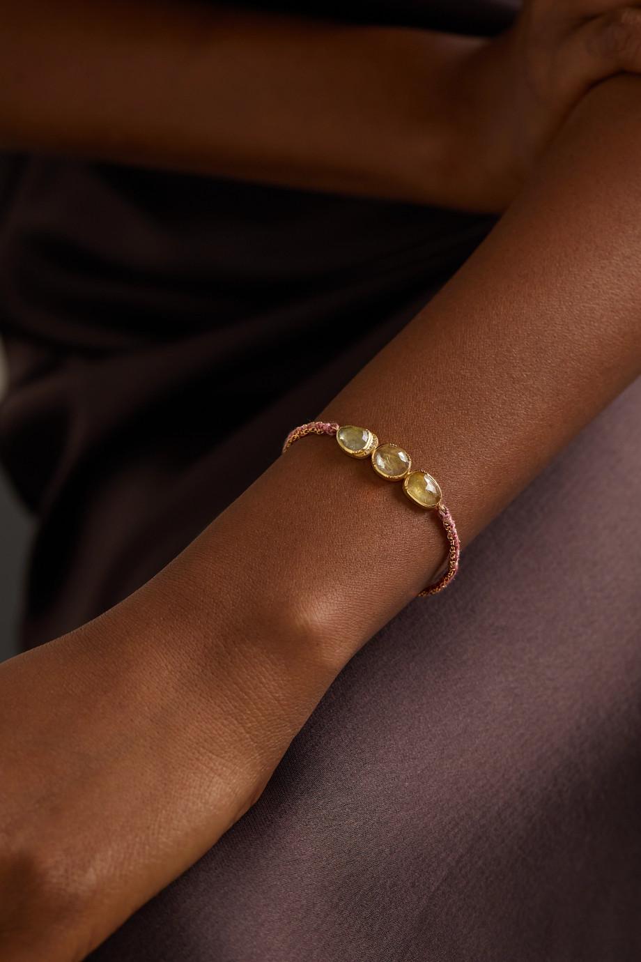 Brooke Gregson Triple Orbit Halo 18-karat gold, silk and sapphire and diamond bracelet