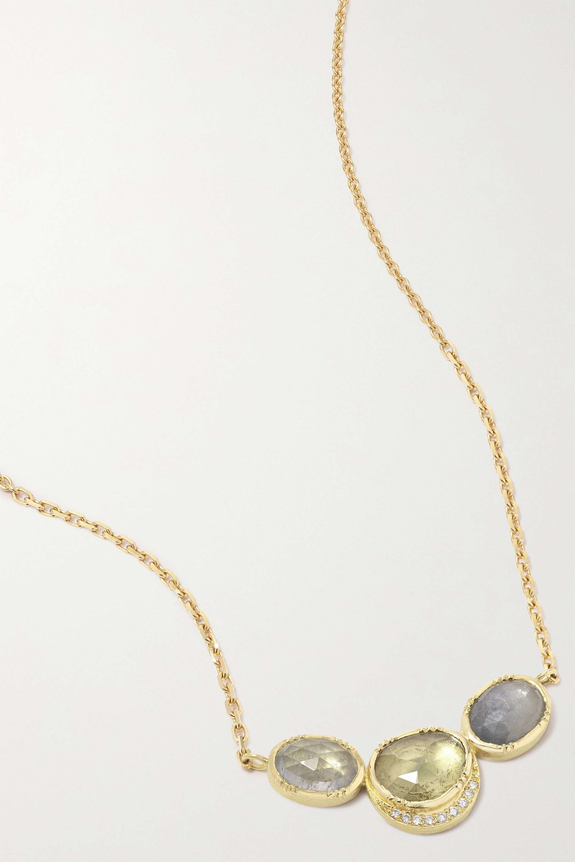 Brooke Gregson - Orbit Halo 3 18-karat gold, sapphire and diamond necklace