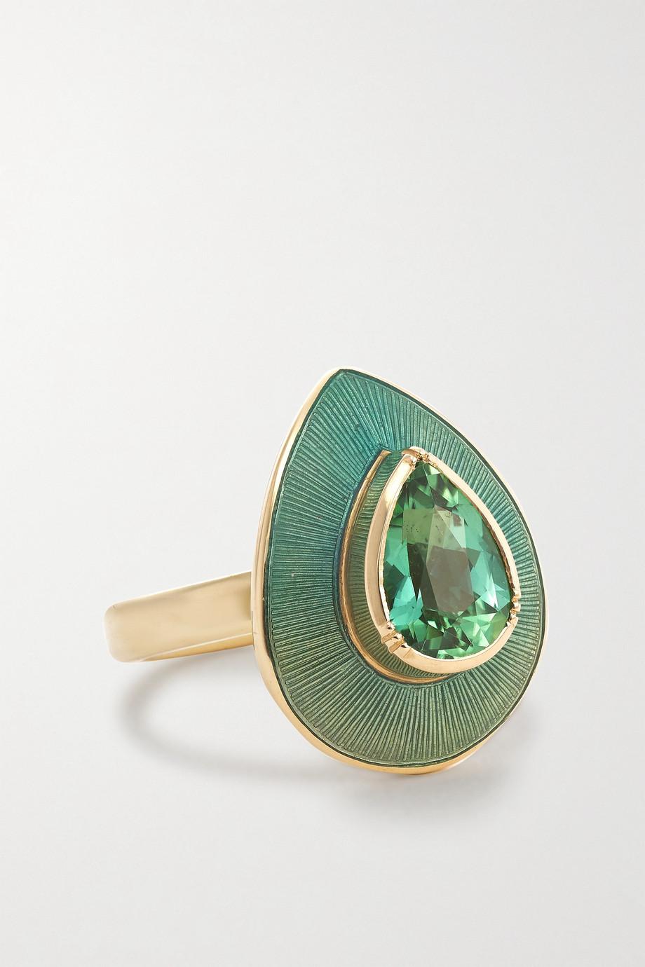 Brooke Gregson Raindrop 18-karat gold, enamel and tourmaline ring