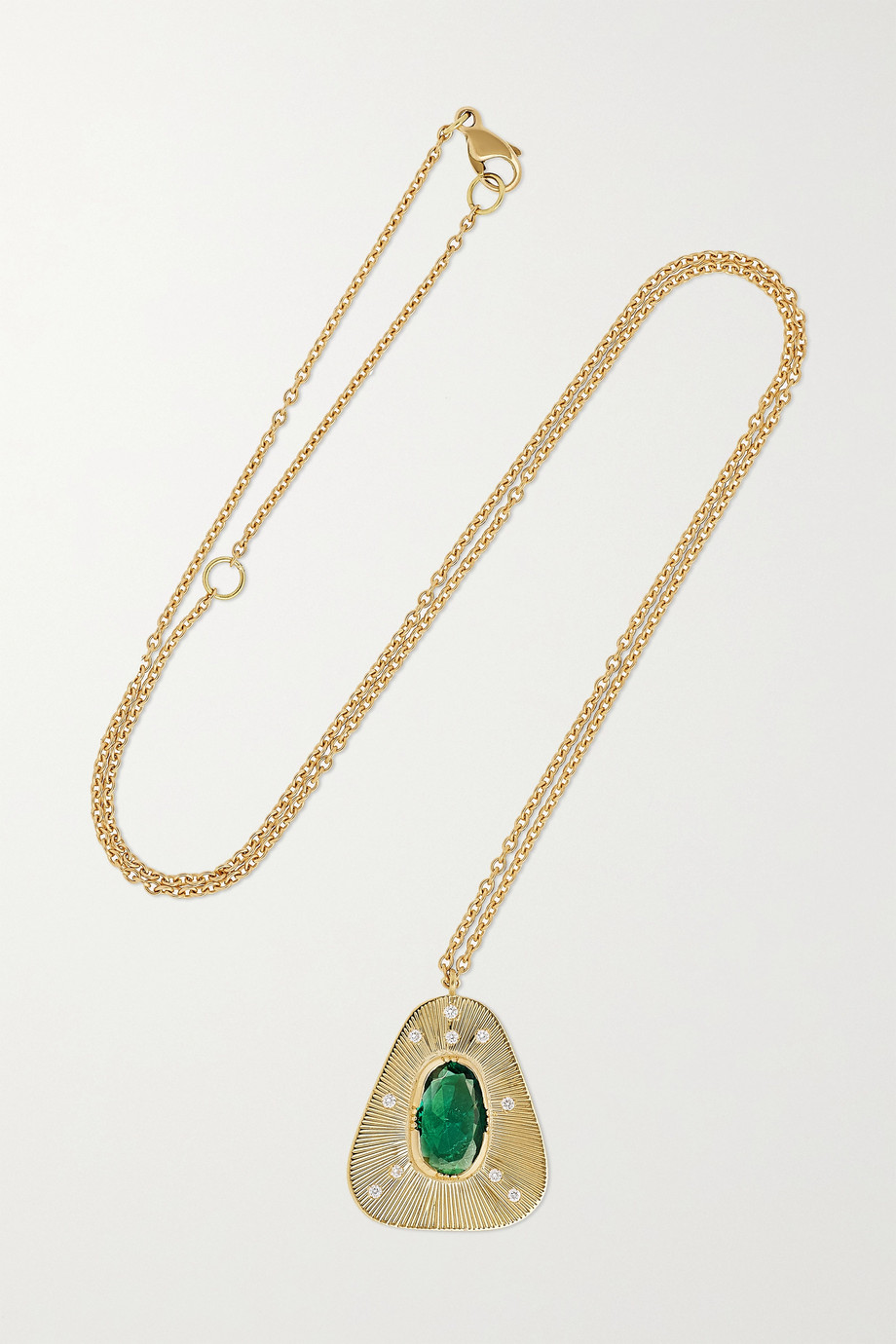 Brooke Gregson Kette aus 18 Karat Gold mit Smaragd und Diamanten