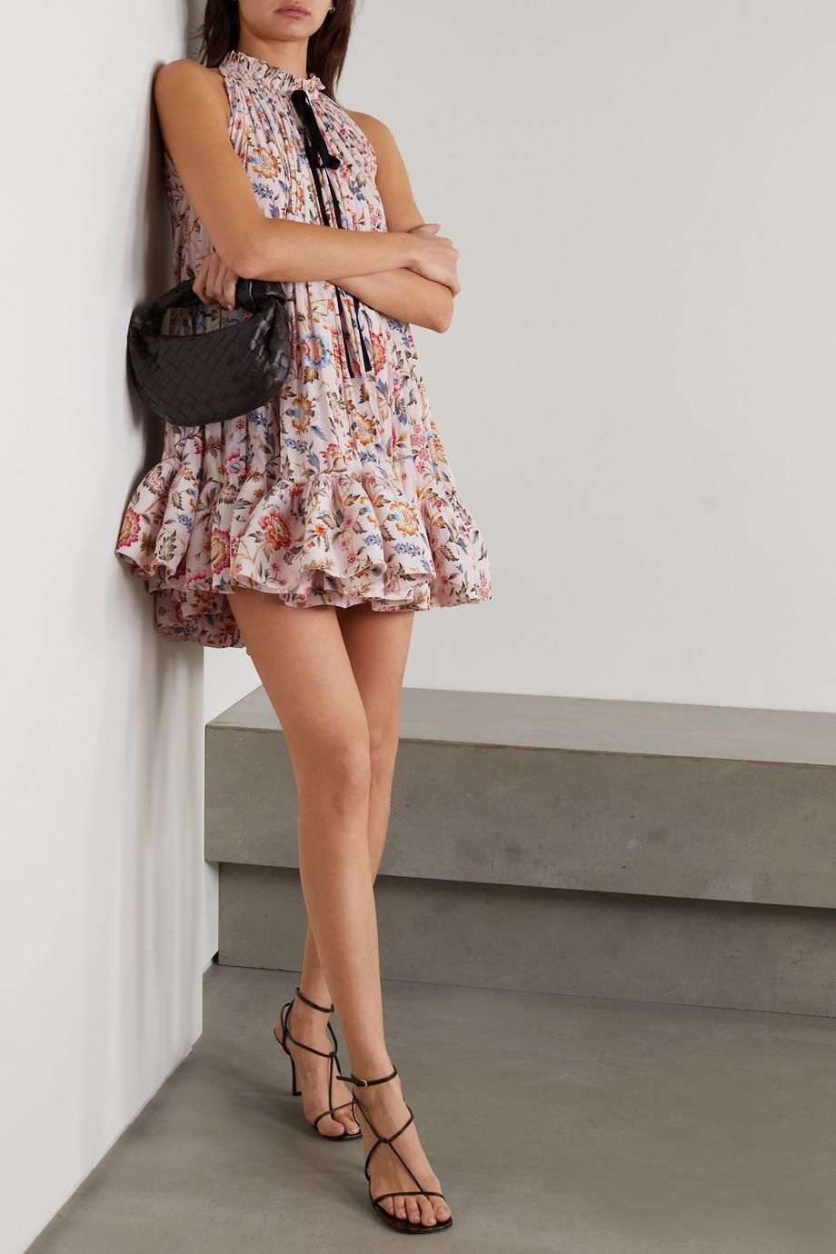 Lanvin Grosgrain-trimmed ruffled floral-print charmeuse mini dress