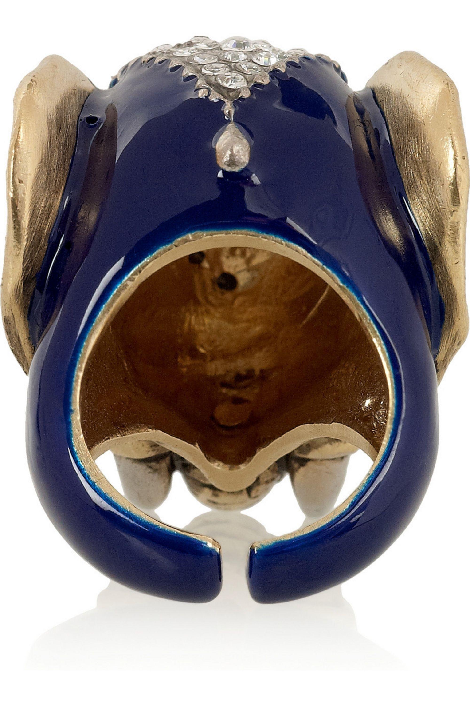 Roberto Cavalli Gold-plated Swarovski crystal elephant ring