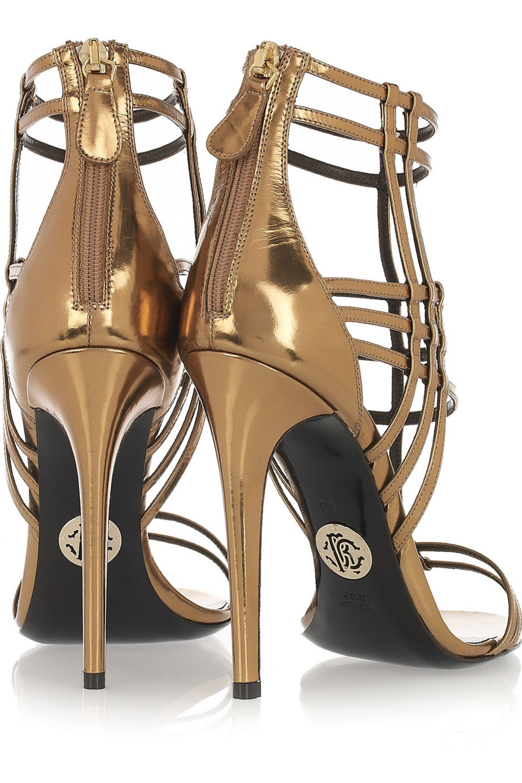 Roberto Cavalli Patent-leather cage sandals