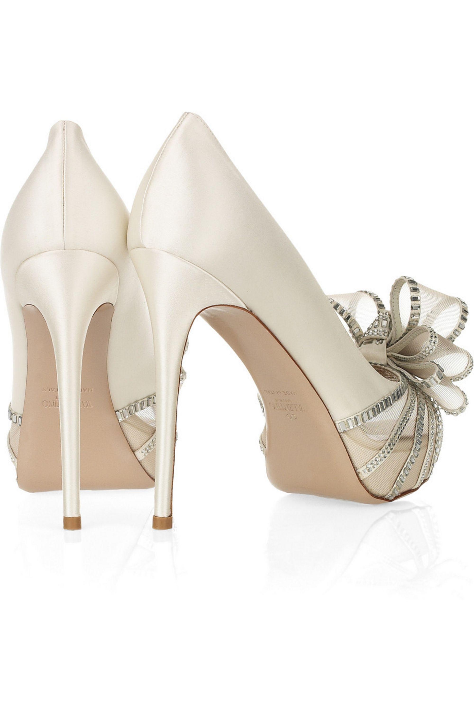 Valentino Bow-embellished satin sandals