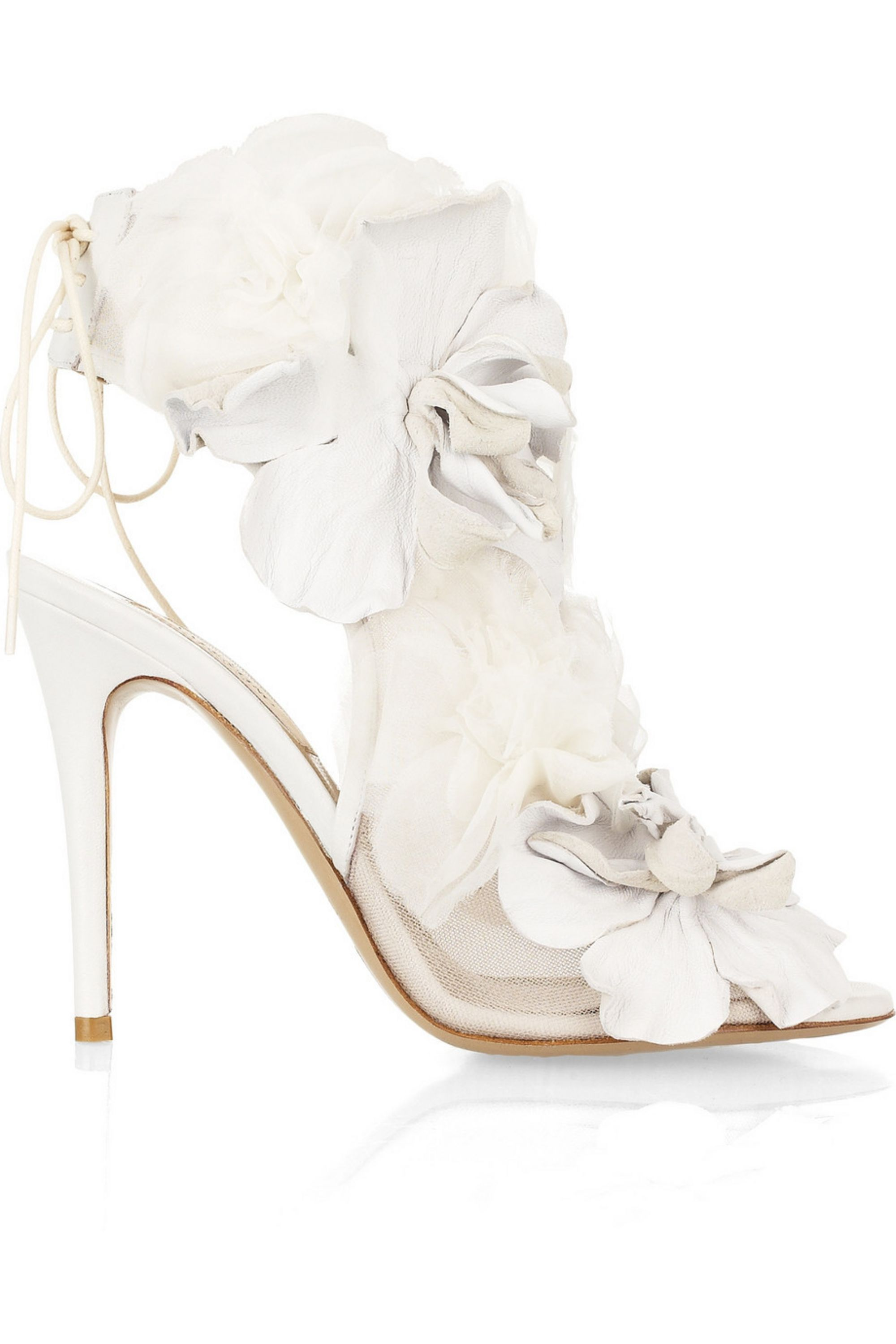 Valentino Leather and tulle-embellished mesh sandals