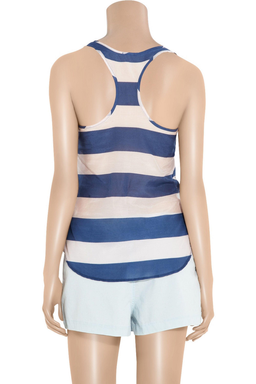 Splendid Striped cotton and silk-blend tank