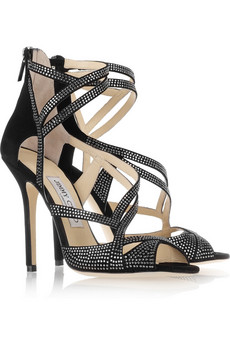 Jimmy Choo | Dome diamanté-embellished suede sandals | NET-A-PORTER.COM