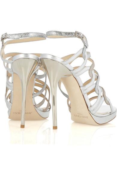239091422c53 Jimmy Choo. Dart glittered metallic leather sandals.  462. Zoom In