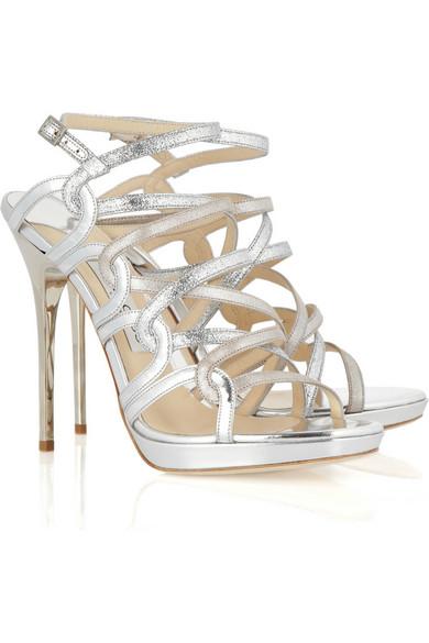 2ff310846546 Jimmy Choo. Dart glittered metallic leather sandals