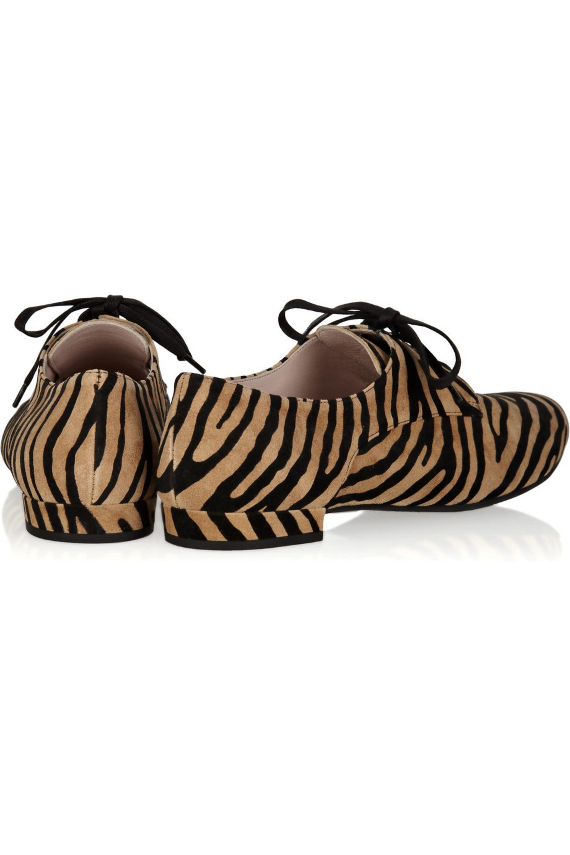 Miu Miu Zebra-print suede brogues