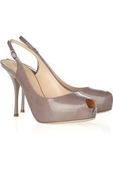 Giuseppe Zanotti|Patent-leather peep-toe slingbacks|NET-A-PORTER.COM