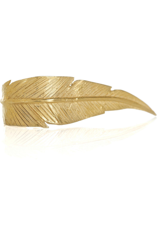 Daisy Knights 22-karat gold-vermeil feather ring