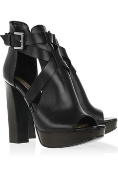 Michael Kors | Block-heeled leather sandals | NET-A-PORTER.COM from net-a-porter.com