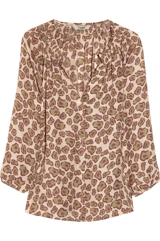 Tucker Leopard-print silk-georgette blouse