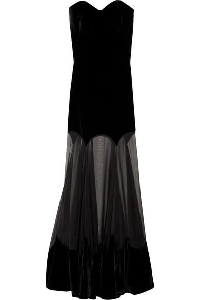 a33a17d370e2 Alexander McQueen | Strapless velvet gown | NET-A-PORTER.COM