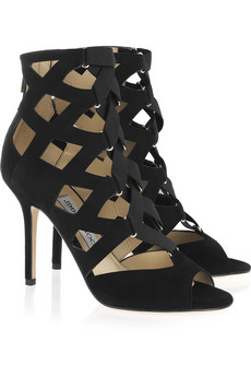 Jimmy Choo | Flaxman suede cage sandals | NET-A-PORTER.COM from net-a-porter.com