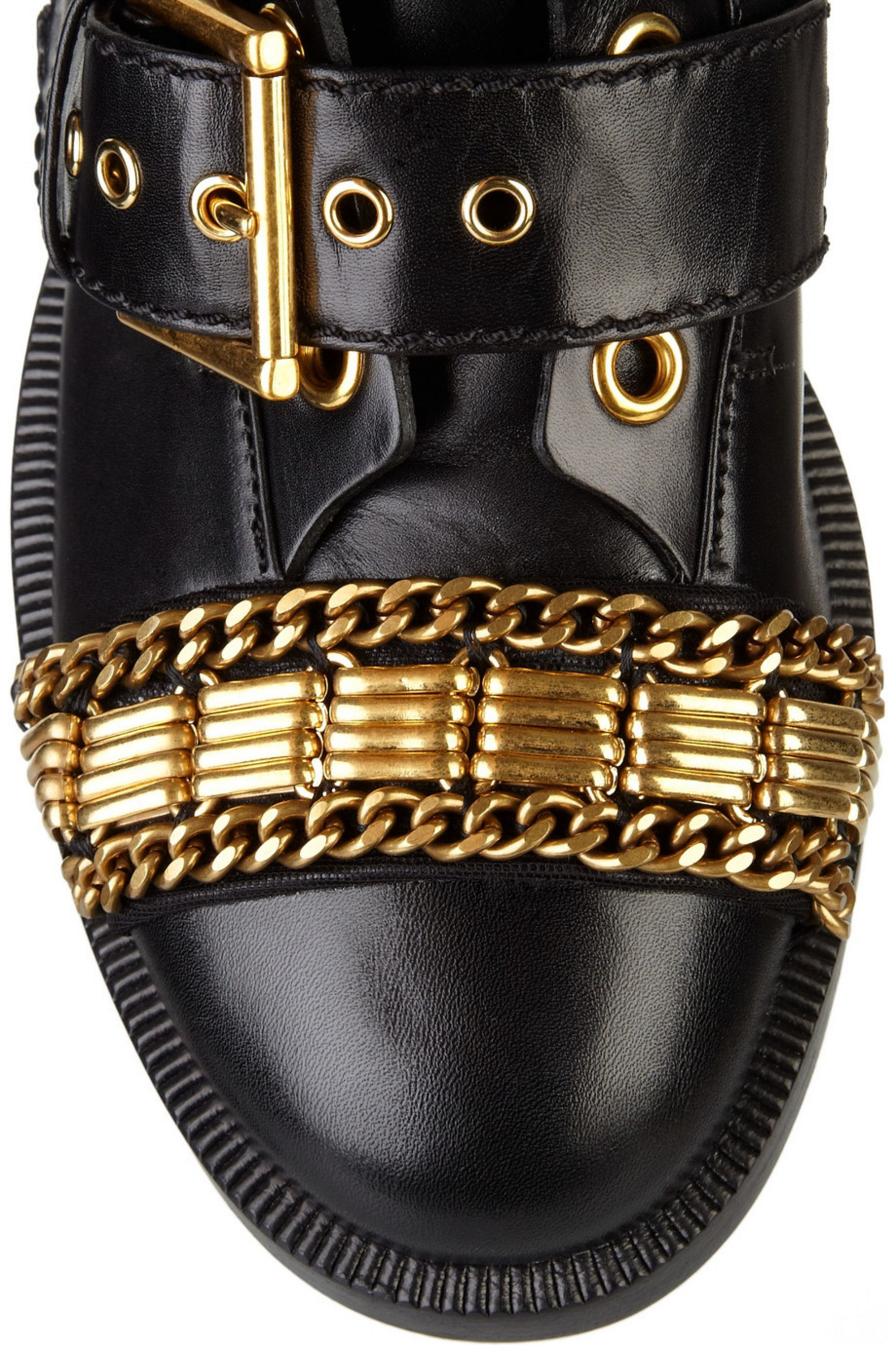 Alexander McQueen Chain-trimmed leather ankle boots