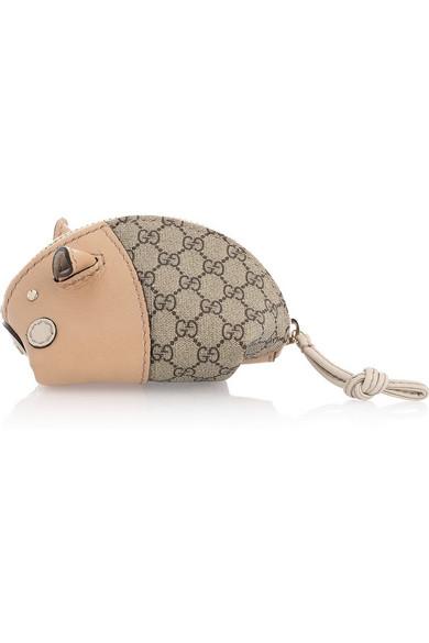 755d4b311d43 Gucci | Little Pig leather and canvas coin purse | NET-A-PORTER.COM
