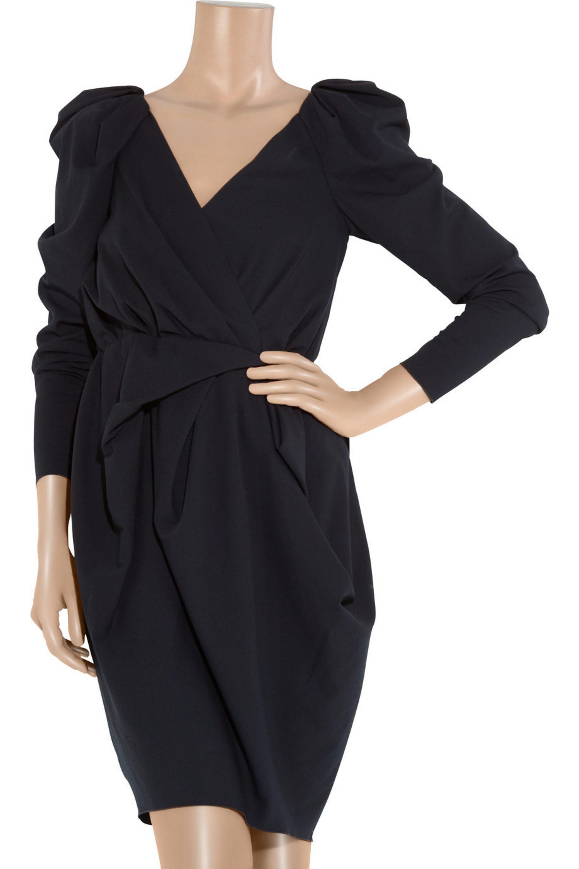 Lanvin Sable stretch-crepe wrap-effect dress