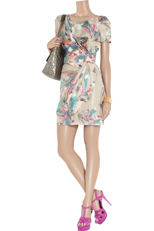 Matthew Williamson Feather-print silk-satin dress