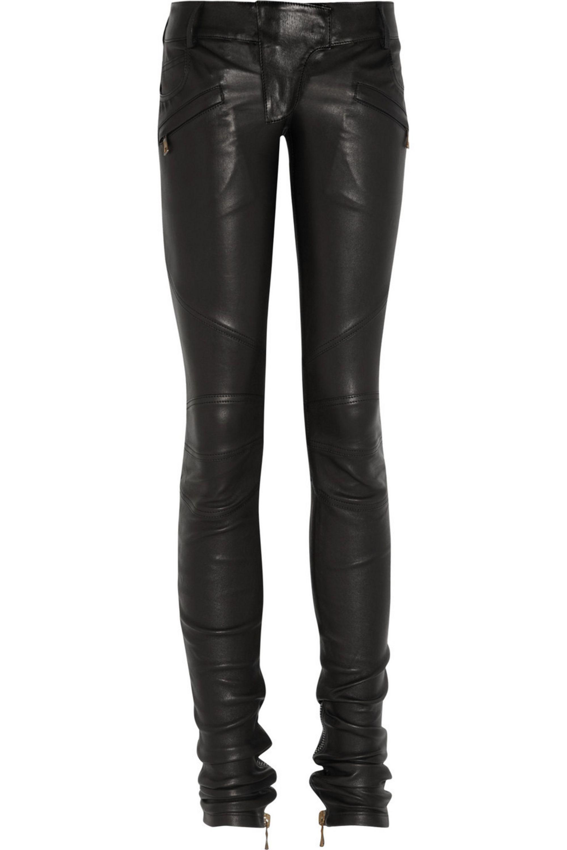 Balmain Leather skinny motocross pants