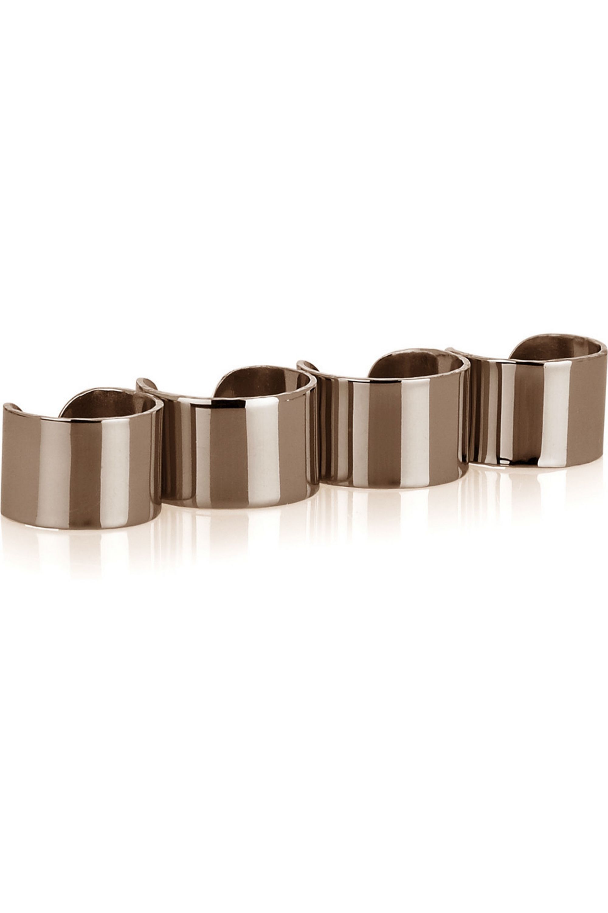 Maison Margiela Set of four bronze-plated sterling silver knuckleduster rings