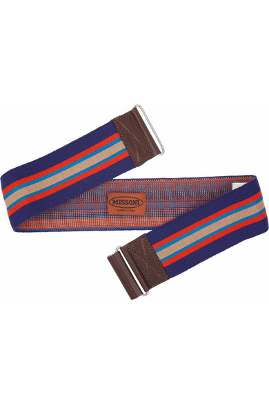 bfa5c01858 Leather-trimmed striped stretch belt