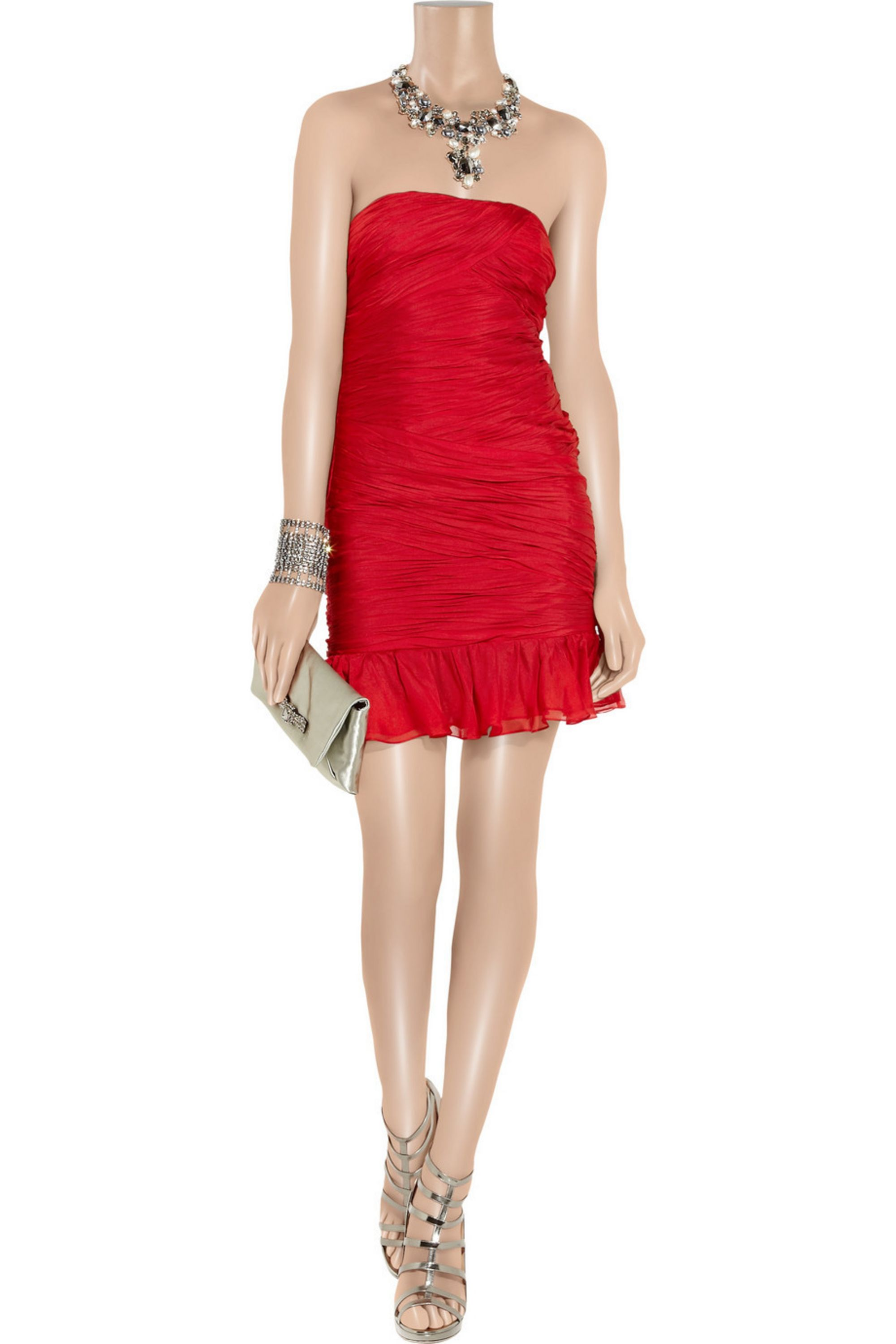 Halston Ruched silk-satin mini dress