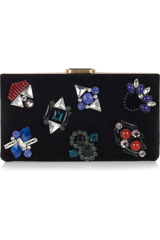 Diane von Furstenberg Harri jewel-embellished suede box clutch