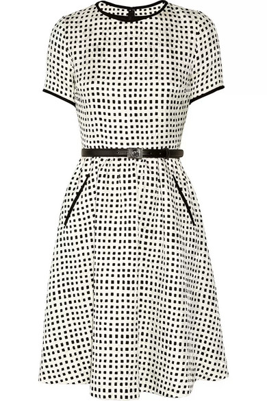 Belted silk and wool-blend jacquard dress