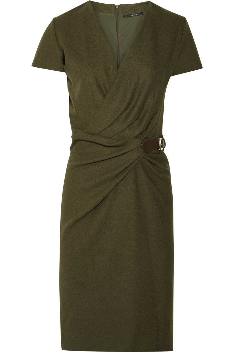 Gucci Belted Wool-Crepe Wrap-Effect Dress, Size: XXL