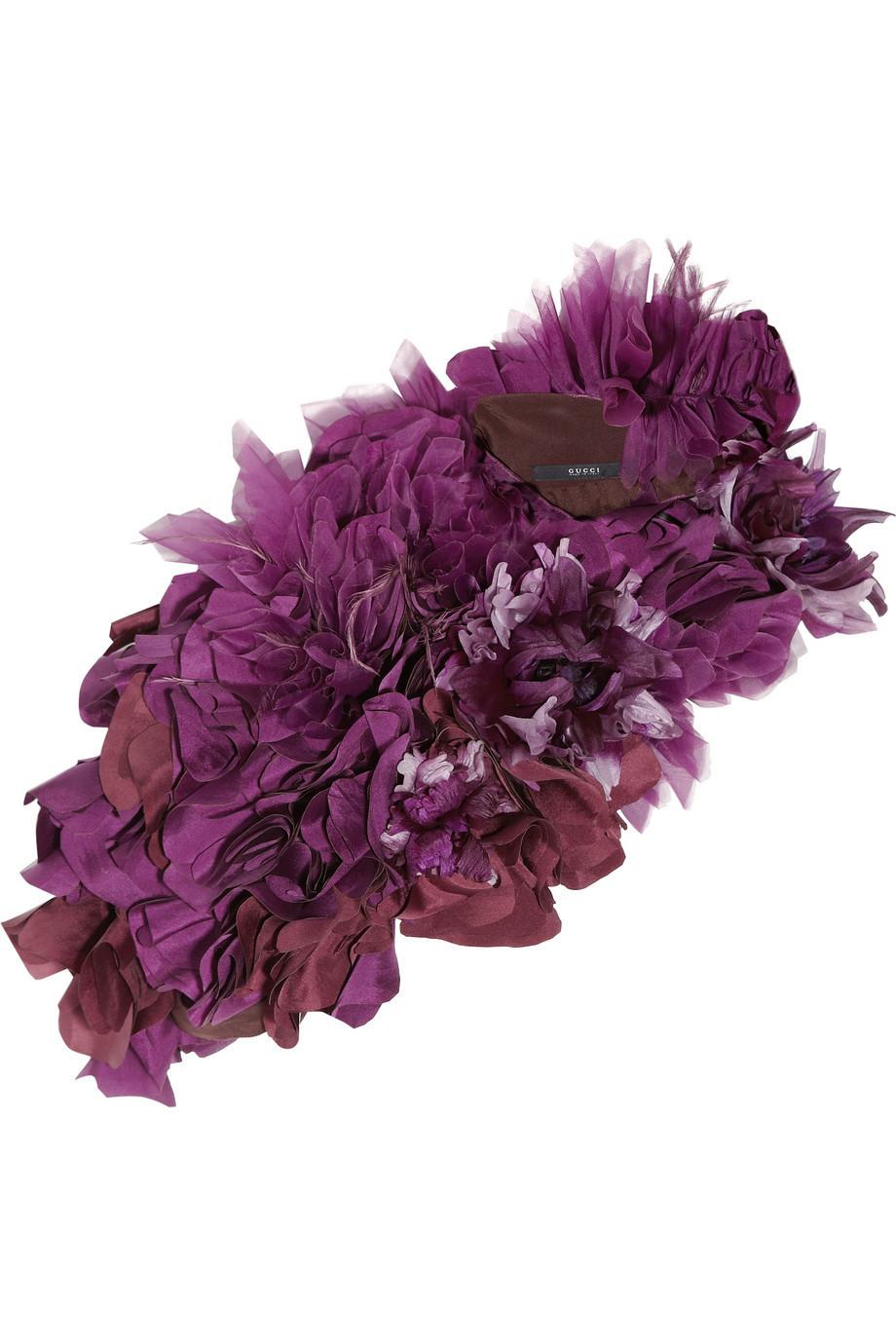 Gucci Silk-Organza Floral Collar, Size: 38