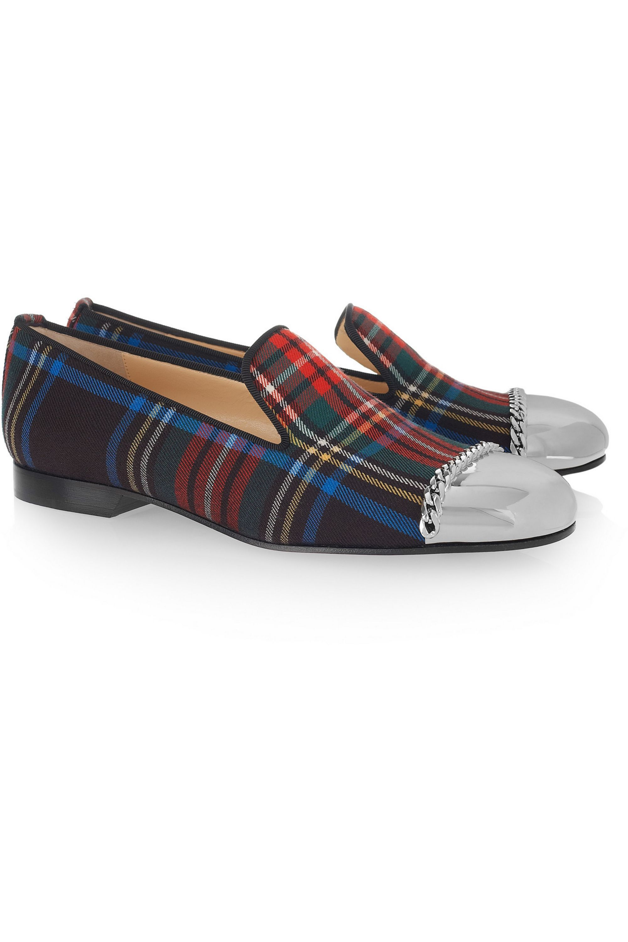 Christian Louboutin Rollergirl tartan canvas loafers