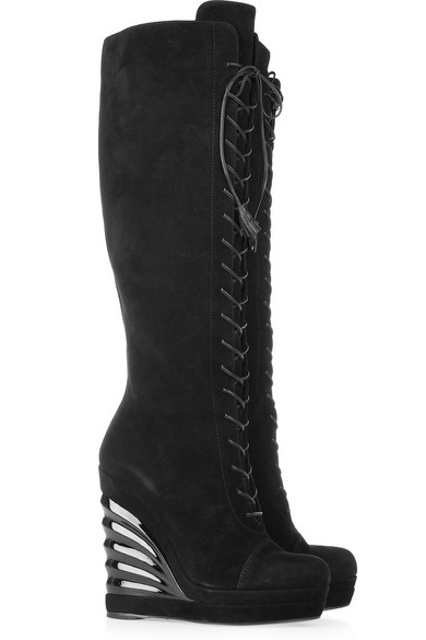 7342fc72189 Yves Saint Laurent   Lace-up suede wedge knee boots   NET-A-PORTER.COM
