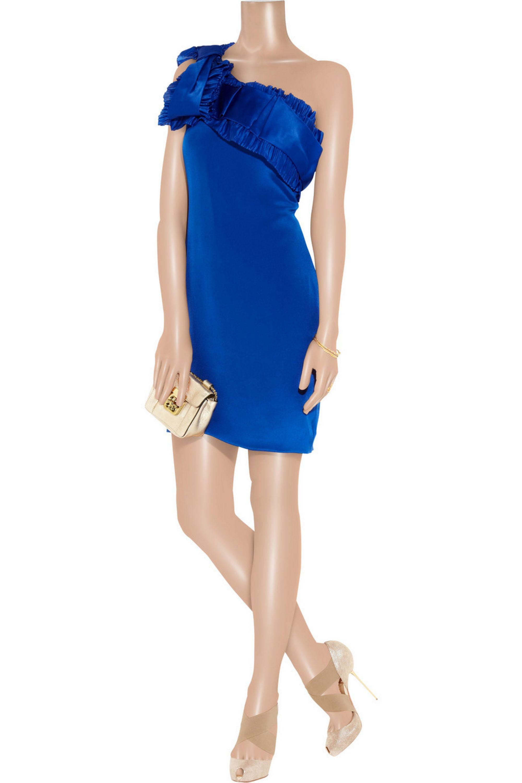 Marchesa Notte One-shoulder silk-crepe dress